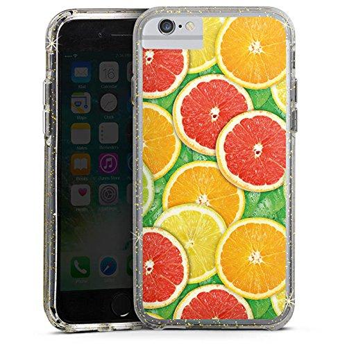Apple iPhone X Bumper Hülle Bumper Case Glitzer Hülle Lemon Zitrone Sommer Trend Bumper Case Glitzer gold
