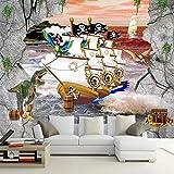 Amazhen Wallpaper 3D Stereo Piratenschiff Kapuzen Wallpaper Wohnzimmer Fernsehen Sofa Hintergrund Wandbild Mall Shop Tapete,200cm*140cm