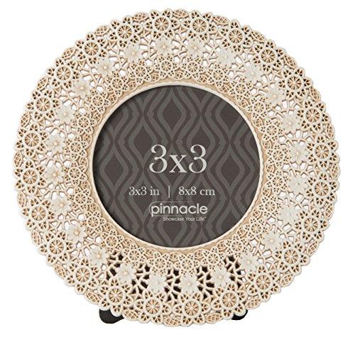 Pinnacle Rahmen und Akzente 3x 3Antik Kreis w/Spitze Design Rahmen, weiß