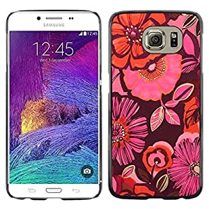 Omega Covers - Snap on Hard Back Case Cover Shell FOR Samsung Galaxy S6 - Pattern Pink Fabric Dark Purple