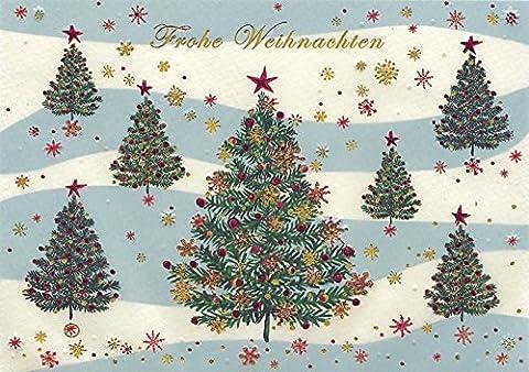 DeCoArt… Weihnachtskarte Weihnachtsbäume bunt glitzrig rot gold Frohe Weihnachten Kunst