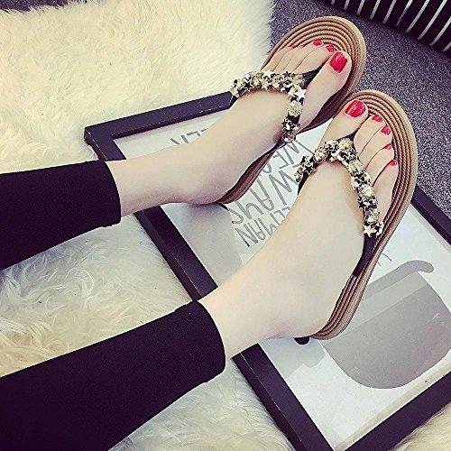 LvYuan Pantofole estive delle donne / comodo casuale di modo / ribattini / piattaforme / sandali dei Rhinestones / pattini sexy della spiaggia Black