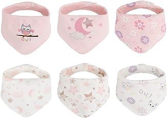6pcs Baby Dreieckstuch Lätzchen Spucktuch Baumwolle Halstücher mit süßen Motiven in unterschiedlichen Farben, Doppellagig Saugfähig (3-24 Monate)