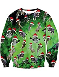 TUONROAD Unisex Ugly Christmas Sweatshirt 3D Imprimé Xmas Pull Funny Jumpers Col Rond Sweat À Manches Longues Jumper Vêtements S-XXL