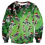 RAISEVERN Espacio Galaxy Unisex Verde Feo de Navidad del Gato de Santa Imprimir Pullover suéter para Las Mujeres de los Hombres