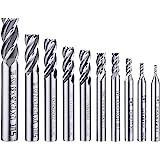 10 st 4-flöjt ändfräs bitar, AFUNTA 0,16 cm – 0,24 tum HSS CNC rak skaft borrbits skärare verktygssats för trä aluminium stål