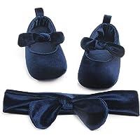Carolilly Set Neonata Scarpe Primi Passi Bowknot Battesimo Infantile Scarpine Neonato Principessa AntiScivolo+Fascia…