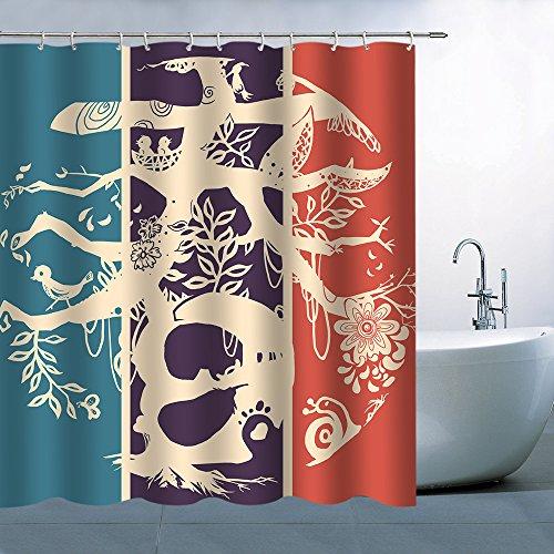 Handgemaltes Dream Romance Comic Animal Multi Digitaldruck Standard Dusche Vorhänge 180cmx180cm Nicht Moldy Polyester Wasserdicht Badezimmer Vorhang (mit Haken) Modern 70 x 70 inches Multi Q928 (Dusche Vorhang Liner 180x70)