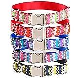 Amakunft Langlebig Wellen Muster Anpassen Hundehalsband mit Namen, Stahl Namen und Telefonnummer Bestickt Pet Halsband, Personalisierbar, Hund ID Halsband für Hunde