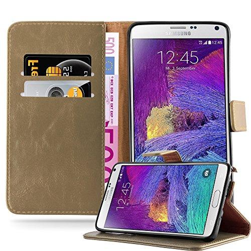 Cadorabo Hülle für Samsung Galaxy Note 4 - Hülle in Cappucino BRAUN - Handyhülle im Luxury Design mit Kartenfach und Standfunktion - Case Cover Schutzhülle Etui Tasche Book (Samsung Note 4 Fall Türkis)