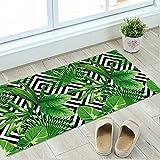 CCNIU 3D Grün Blätter Bodenaufkleber Rutschfeste Schlafzimmer Badezimmer Dekor Wandaufkleber 60 * 120 cm