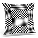 kissenbezüge Bauhaus Design with Black White Squares and Rhombuses Optical Alternating Chequered Tartan Canted Decorative Pillow Case Home Decor Square 18x18 Inches Pillowcase