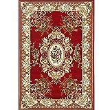 CarPET Teppich_Vintage persische geschnitzten Floralen orientalischen Bereich traditionellen Teppich Distressed Shabby Chic dicken Plüsch Beige blau rot 160x230cm (5'3''x7'7 '') Teppich