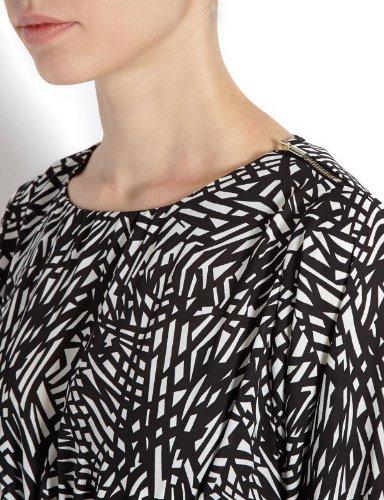 Morgan - Maglietta con stampa, collo a v, manica lunga, donna Écru (Écru/Noir)