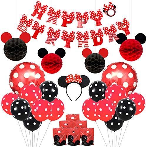Kreatwow Mickey und Minnie Party Supplies rote und Schwarze Ohren Stirnband Happy Birthday Banner Polka Dot Ballons Set für Minnie Mouse Partydekorationen