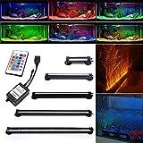 Neverland 42cm 24 LED 5W Aquarium Bubble Beleuchtung LED Lichtleiste Tageslichtsimulator Wasserfest LED Blase Licht Bar + 24 Tasten RC Fernbedienung Für Aquarium mit EU Stecker