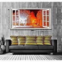 Winter Wonderland View à partir d'une fenêtre panoramique encadrée Impression sur toile Art mural XXL 139,7x 61cm de plus de 1,4m de large x 0,6m haute prêts à poser