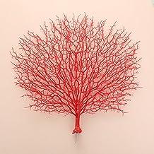 Kicode 46X50CM Pavo real de la flor artificial de coral Flores falsas Windowsill interior y exterior