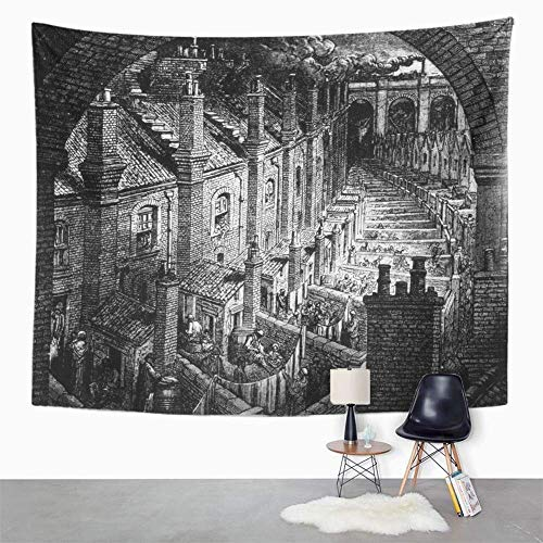 Peutry Tapisserie Wandbehang Wandteppich Hippie 19Th Slums of London Engraving by Gustave Dore Ca 1850 Century England Black Tapestry with Art Nature Home Decor for Living Room Dorm Decor (130x150cm) 19th Century Muster