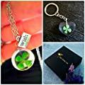 Trèfle porte-bonheur Collier et porte-clés Ensemble-cadeau - pendentif avec chaîne en argent sterling trèfle à quatre feuilles ensemble de bijoux assorti pour les filles