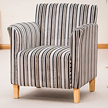Sofa Collection Brand New Vivaldi Striped Fabric Tub Chair/Armchair  Seating, Fabric, Grey, 75 X 74 X 85 Cm