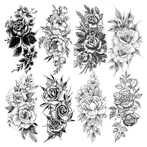 LAROI 8 Blätter Realistische Blume Große Pfingstrose Rose Temporäre Tattoos Aufkleber Körperkunst Groß Arme Beine Flora Schwarze Tattoos Temporär Frauen Erwachsene Mädchen Dame Gefälscht Sexy Tattoos