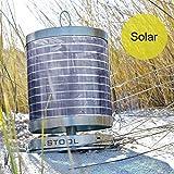 Nachhaltige Tischleuchte +Solarschirm, Edelstahl gebürstet von .STOOL   Hochwertige Lampe mit Power-LED   Garten, Balkon, Terrasse, Camping   Indoor und Outdoor  