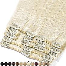 Extensiones de cabello auténtico con clip, 8 bandas de pelo humano Remy para la cabeza completa, set liso de 20-60cm de largo 25cm-75g #60 Biondo Platino