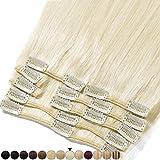 Extension a Clip Cheveux Naturel - 100% Cheveux Humain Remy Rajout Vrai Cheveux Naturel (#60 Blond platine, 20cm-65g)