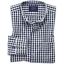 Bügelfreies Classic Fit Hemd aus Popeline in marineblau mit Karos