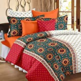 #10: Bedspun High Quality Premium Flower Print 120 TC Cotton Double Bedsheets with 2 Pillow Covers - Rose Pink