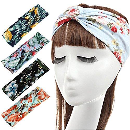 DRESHOW 4 Pack Head Wrap Stirnbänder Vintage Elastische Stretchy Moisture Solid Color Criss Haarband für Frauen (Beige, Rosa, Burgund, Grün)