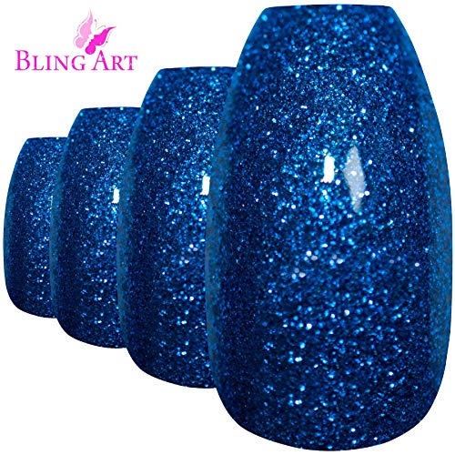 Bling Art Falsche Nägel Blau Gelnägel Ballerina Sarg 24 Kunstnägel Lange Tipps mit Kleber