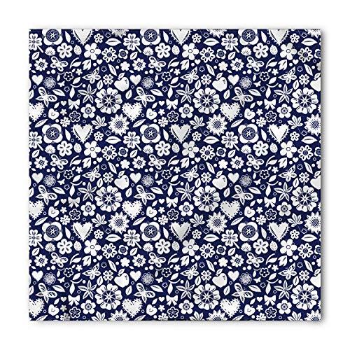 Navy Blue Bandana, Heart Butterflies Leafs, Unisex Head and Neck Tie, Printed Unisex Bandana Head and Neck Tie Scarf Headband, Multicolor M 100x100cm -