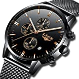 Mens Watches Fashion Waterproof Stainless Steel Analog Quartz Watch Men Luxury Brand LIGE Black Classic Casual Date Mesh Wrist Watch