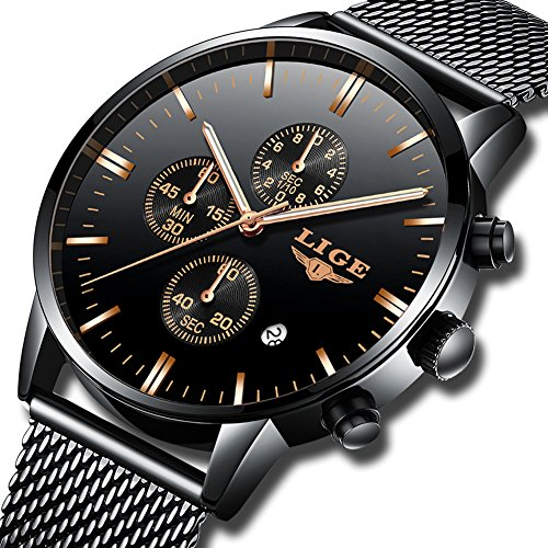 Orologio da uomo lige, orologio al quarzo analogico da uomo alla moda casual, orologio sportivo impermeabile in acciaio inossidabile nero