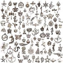 Juanya 100 unidades DIY accesorios mezclados de plata tibetana estilos colgantes del encanto de la joyería de bricolaje para la pulsera collar pendientes