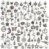 JuanYa 100 Pcs mix de broloques plaqué argent pour collier, bracelet, pendentifs bijoux DIY