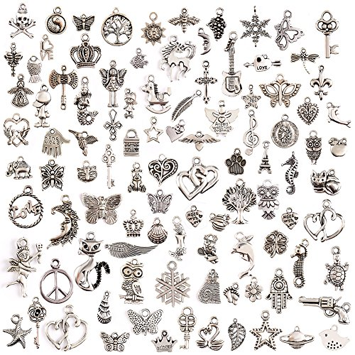 JuanYa 100 Pcs Silver Plated Mix...