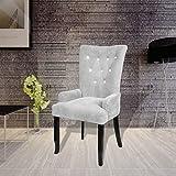 Sessel mit Holzrahmen Velours Silber und Maße–54x 56x 106cm