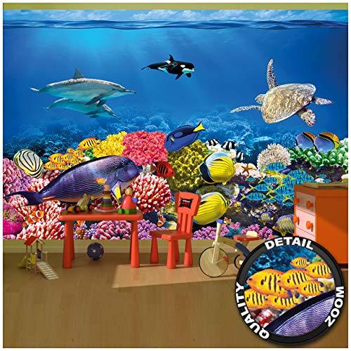 Great Art Fototapete - Aquarium Wandbild - Dekoration farbenfrohe Unterwasserwelt Meeresbewohner Ozean Fische Delphin Korallen-Riff Clownfisch Foto-Tapete Wandtapete Fotoposter (336 x 238 cm)