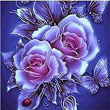 Riou DIY 5D Diamant Painting Voll ,Stickerei Malerei Diamant Retro BlumenCrystal Strass Stickerei Bilder Kunst Handwerk für Home Wall Decor gemälde Kreuzstich (Lila B, 25 * 25cm)