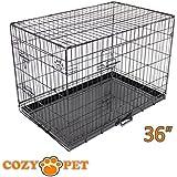 Cozy Pet Deluxe Cage pliante en métal avec 2 portes pour Chiot, Chien Caisse avec plateau métallique, Caisses, Cages en Noir Taille 92cm