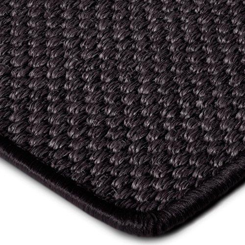 Premium Sisal Teppich Läufer in zahlreichen Größen | anthrazit | mit modern-rustikaler Tiger-Eye-Struktur | kombinierbar mit Stufenmatten (Größe: 80x300 cm)
