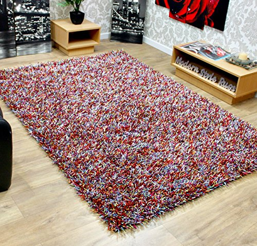 Hard Wearing Quality Modern Shaggy Rugs Many Colours and Large Sizes 40mm Pile - Red, Orange, Purple, Lime Green, Silver, Black, Brown, Electric Blue, Grey, Multi Coloured