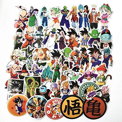 Inveroo 50pcs/los Anime Dragon Ball Aufkleber Super Saiyajin Goku Aufkleber Für Auto Laptop Skateboard Pad Fahrrad Ps4 Telefon wasserdichte Spielzeug (Ball-aufkleber-buch Dragon)