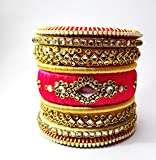 #9: Kundan work Rajputani Pink-Golden Thread Bangle set For Women and Girls/Fashion Bangles for girls and women's ( size 2.6,set 14) (Golden-Golden, 2.8)