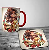 Search : Disney Belle Beauty And The Beast Punk Tattoo Mug And Coaster Set