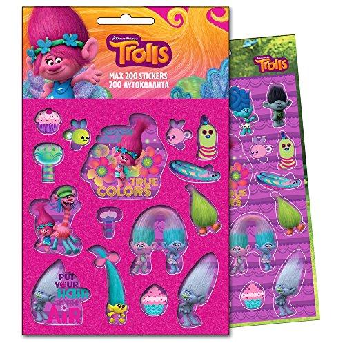 GUIZMAX 200 Stickers Les Trolls Disney Enfant