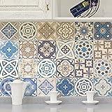 Ambiance-Live col-tiles-ros-a903_ 15x 15cm Stickers Adhesivos carrelages, multicolor, 15x 15cm, Set de 24piezas